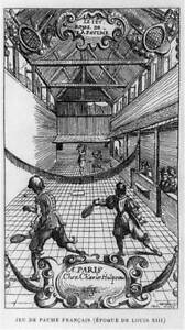 Jeu de paume Francais (epoque de Louis XIII),4 people,game of tennis,sport 8223
