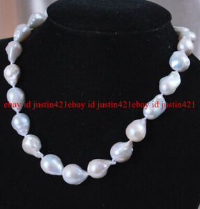 13-18mm Real Natural White South Sea Baroque Pearl Necklace 18""
