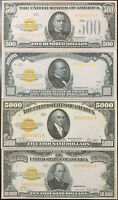 Reproduction Set 1928 Gold Certificates $500, $1000, $5000, $10,000 High Denom