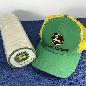 JOHN DEERE 250-Pc New Sleeve Absorbent Cardboard Logo Coasters + TRUCKER CAP HAT