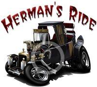 Herman's Hot Rod Munster Koach Dragster Cartoon T-shirt #9666 Vintage