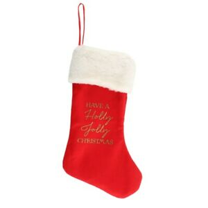 Red Christmas Stocking - 'Have a Holly Jolly Christmas' - 46cms (18ins)