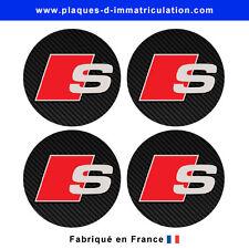sticker AUDI-sline aspect carbone pour cache moyeu de jante (lot de 4)