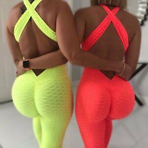 Womens Jumpsuit Yoga Pants Sports Fitness Leggings Gym Jogger Butt Lift Trousers