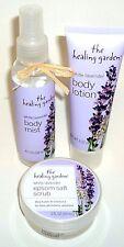 Die Heilung Garten Bodylotion, Epsom Salz Peeling & Body Mist Weiß Lavendel Neu