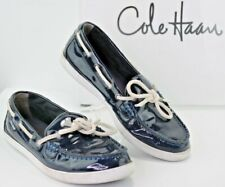 COLE HAAN  Womens 7 B Boat Deck Shoes Slip On Loafers Navy Patent Leather U66