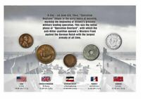 WWII D-Day Allies & Axis 5 Coin Set Coin on Card