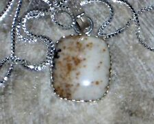 "COFEE AND CREAM AGATE PENDANT 925 SILVER PLATED 1 3/4"" free 925 chain"