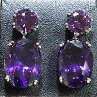 7Ct Oval Purple Amethyst Earring Drop Women Wedding Jewelry 14K White Gold Plate