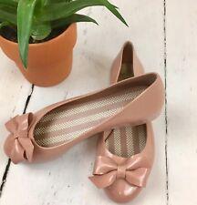 Mel Melissa Ballerina Flats Shoes 6.5 UK 40 EU Nude Bow Vegan Rubber Plastic