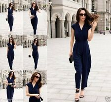 Traje conjunto mono elegante V Neck High Waist Pants Evening Cocktail Jumpsuit