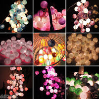 20 COTTON BALL FAIRY LED STRING LIGHTS WEDDING PARTY PATIO CHRISTMAS DECOR HOT