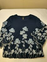 Alfani Women's Blue Floral Nylon Blouse Top Shirt Open Sleeve Flare Size Small