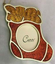 "Carr Shinny Yellow Orange 3X4"" Stocking Frame Ornament Holds 1.5X2"" Oval Photo"