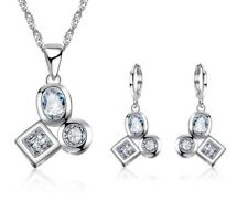 925 Sterling Silver Simulated Bezel Diamonds Earrings Necklace Jewellery Set