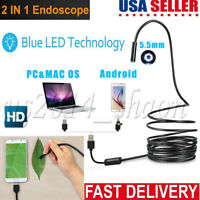USB Endoscope Borescope 6 LED Waterproof Snake Camera For Mac OS Android Windows