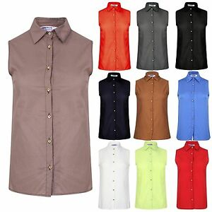 HOT Womens Button Front Blouse Sleeveless Summer Tank Tops Vest
