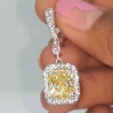 Yellow Radiant Dangle Earrings Pink Oval Solid 925 Sterling Silver Jewelry Women