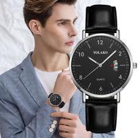 Herren Mode Leder GürtelLegierung Uhr Kalender Quarzuhr Männer Business Watch