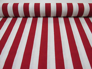 RED White Striped Fabric - Sofia Stripes Curtain Upholstery Material -140cm wide