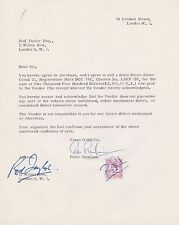 Rod Taylor Autograph, Original Hand Signed Sale of Silver Cloud 111 Letter .