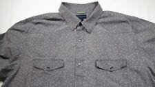 Banana Republic Western Shirt - Snap Front - XXL 18-18.5 - Grey with Pattern