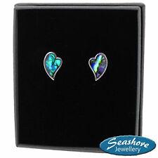 Heart Earrings Paua Abalone Shell Womens Silver Fashion Jewellery Gift Boxed