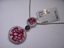 Magnificent Estate 18K White Gold Ruby Black Diamond Pendant Necklace