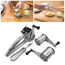 Stainless Steel Rotary Cheese Grater 3 Drums Slice Shred kitchen tool + Peeler