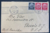 1936 Munich Germany Brown band Grand Prix label Cover To Passaic NY Usa