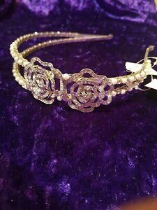 Wedding tiara split head band bridal silver diamante and pearl and roses
