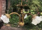 ANTIQUE BRONZE FRENCH GILDED GLASS FLOWER SHADES CHANDELIER 1900 s