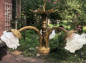 ANTIQUE BRONZE FRENCH GILDED GLASS FLOWER SHADES CHANDELIER 1900's