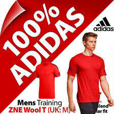 adidas Mens ZNE Tee Wool T-Shirt Red Shorts for Running Gym Yoga Cross Fit UK M