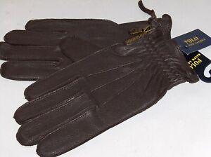 POLO RALPH LAUREN Men's Side Zip Deerskin Leather Gloves, Wool Lined, Brown, NWT