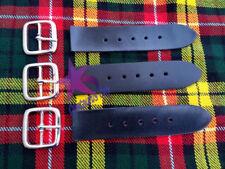 "3x Kilt Straps and Buckle 7"" Genuine Leather Extender 1.25"" Wide - Black Strap"