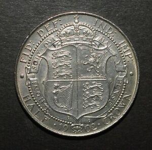 EDWARD VII 1902 HALF CROWN. SUPERB