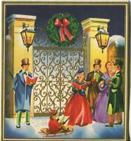 VINTAGE CHRISTMAS GOLD EMBOSSED GATE LANTERNS WREATH SLED CAROLERS GREETING CARD