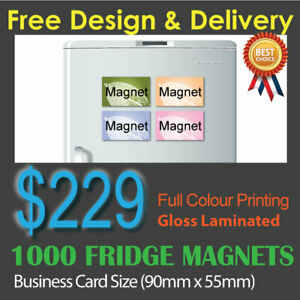 1000 Business Card size fridge magnets (0.6mm) full colour + Gloss laminated