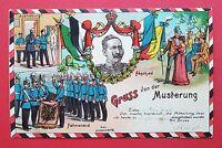 Militär AK Gruss von der MUSTERUNG um 1907   ( 18245