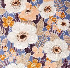 Vintage Original Blue Marvel Flowers 1970s Stunning Wallpaper