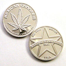 1/10th Troy Oz .999 Solid Silver Mexican Cannabis Coin w/free U.S Shipping