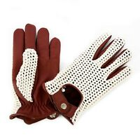 MEN'S DRIVING GLOVES CHAUFFEUR LEATHER DRESS FASHION CLASSIC VINTAGE COGNAC