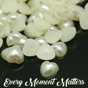 100 x PEARL PUFF HEART FLAT BACK EMBELLISHMENTS Various Colours 10mm