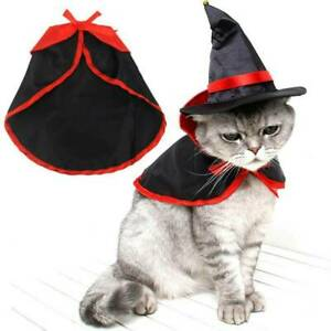 Pet Cat Small Dog Vampire Cape Cloak Halloween Cosplay Costume Party Outfits Set