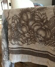 Williams Sonoma 70 x 108 100% Linen Harvest Fall Brown Tablecloth & 12 Napkins