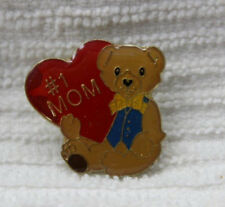 "Teddy Bear Christmas Red Heart Valentines 1"" Brooch Pin #1 Mom Mothers Day Gift"