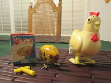 Vintage PECKING CHICKEN WIND UP Tin Toy , NIB MS006 and Hubba Bubba Clucker