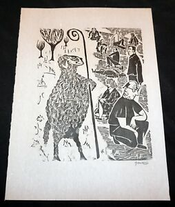 '52 Uruguay Block Print The World Upside Down Antonio Frasconi (1919-2013)(Mod)