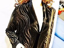 NWT NOTATIONS SZ M BLACK VELVET SPARKLY OPEN FRONT JACKET